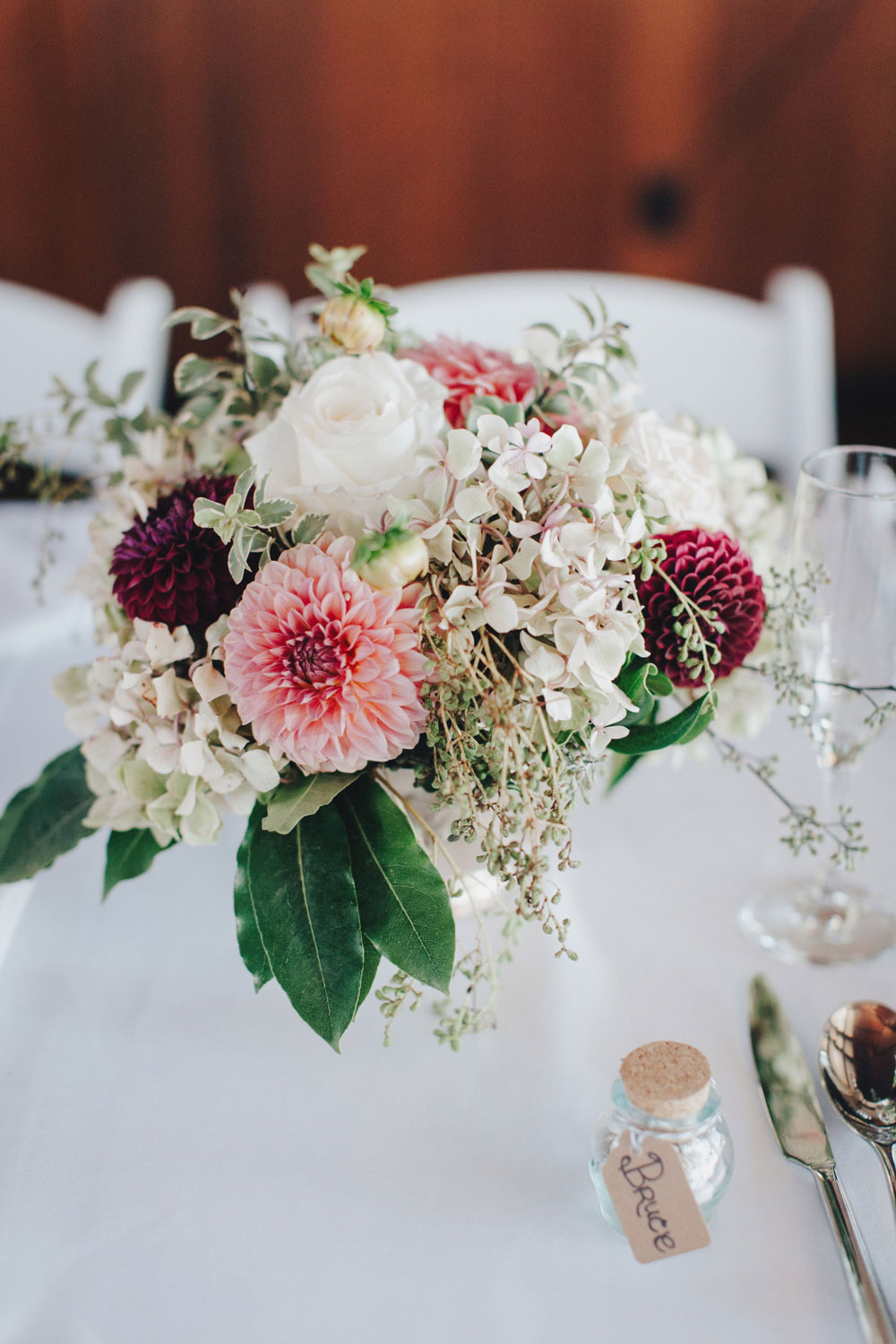 Pink, White, and Deep Red Wedding Table Flowers