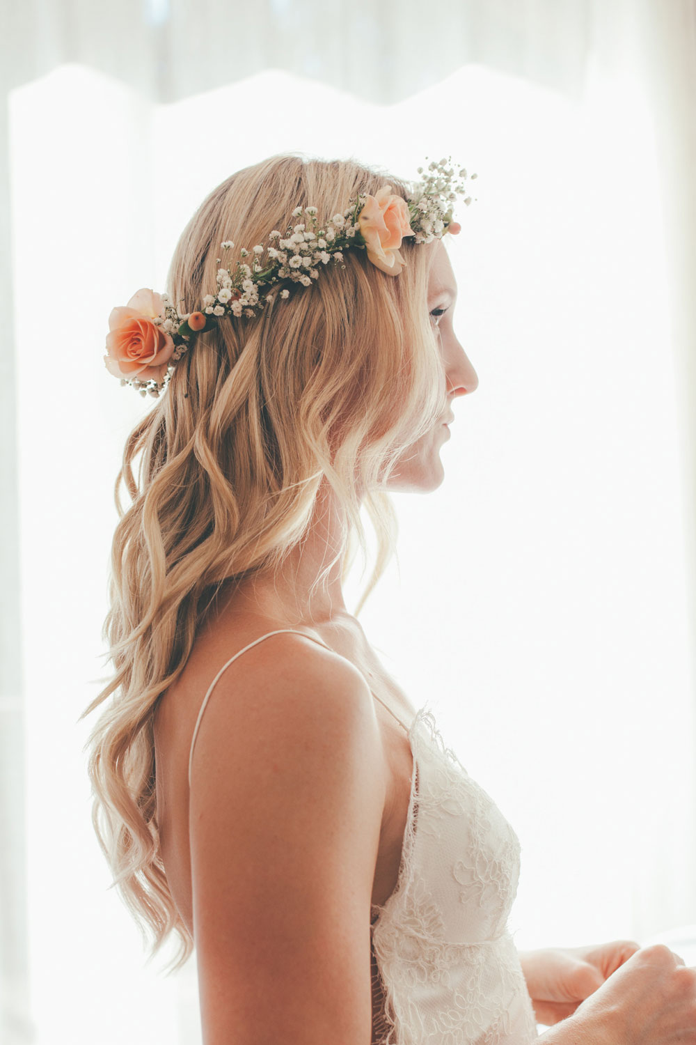 Bride Wearing Flower Crown Designed by Kate Healey