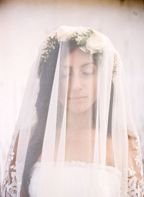 Bride in a White Veil and Flower Crown