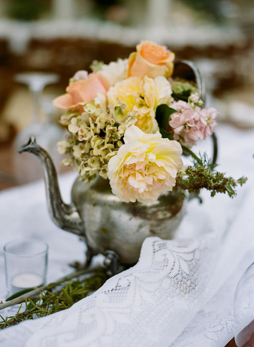 Table Flowers in an Antique Silver Teapot