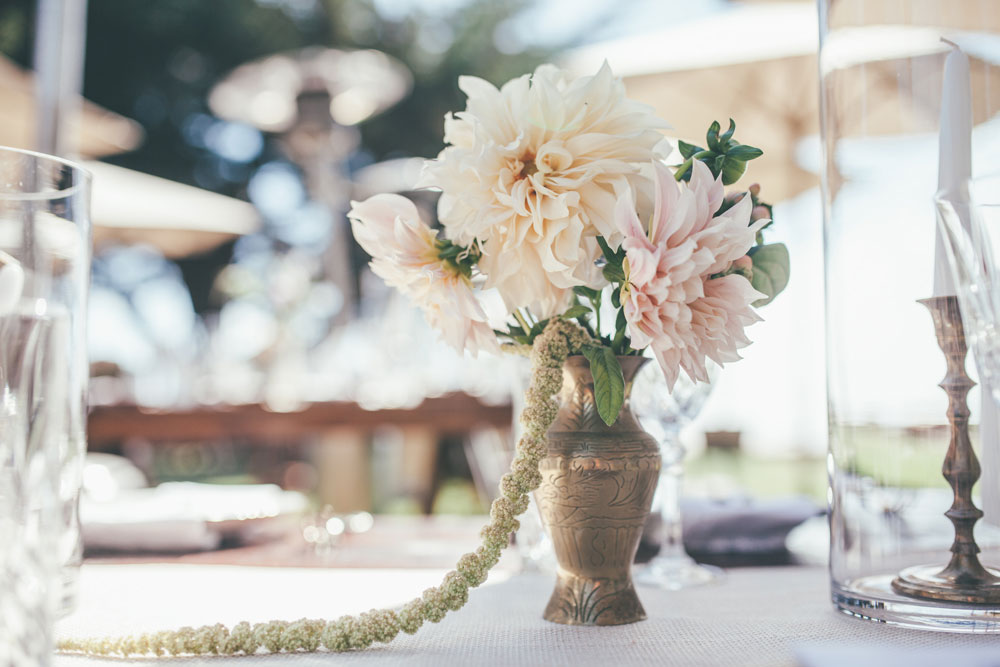 Wedding Flowers in an Antique Silver Vase