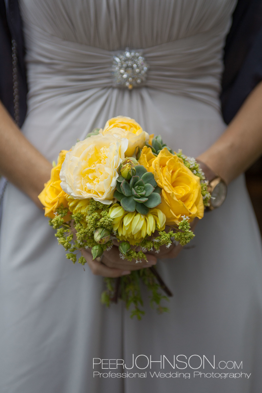 Rose and Succulent Bridesmaids Bouquet by Kate Healey
