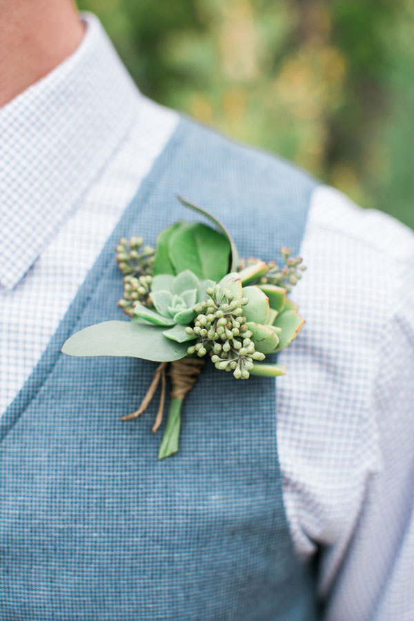 Boutonniere of Succulents and Leaves by Kate Healey of Big Sur Flowers