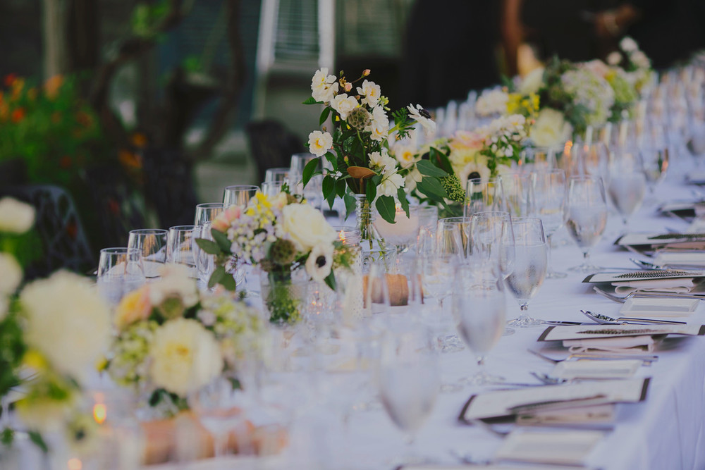 Wedding Banquet Table Lush with Flowers by Big Sur Flowers