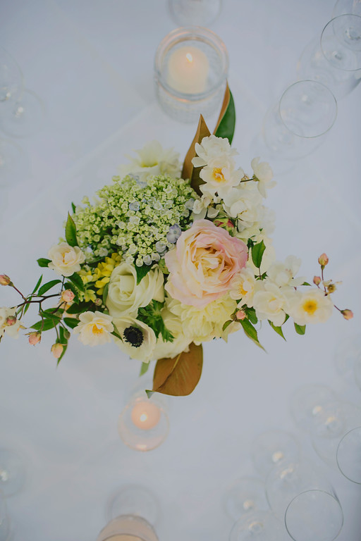 Wedding Table Flowers designed by Kate Healey