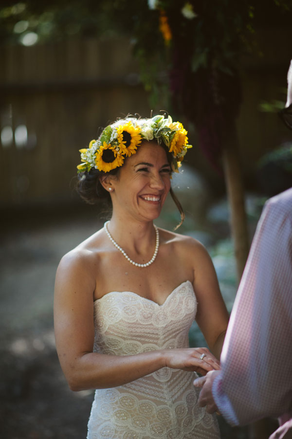 Smiling Bride with Joyful Flower Crown by Kate Healey