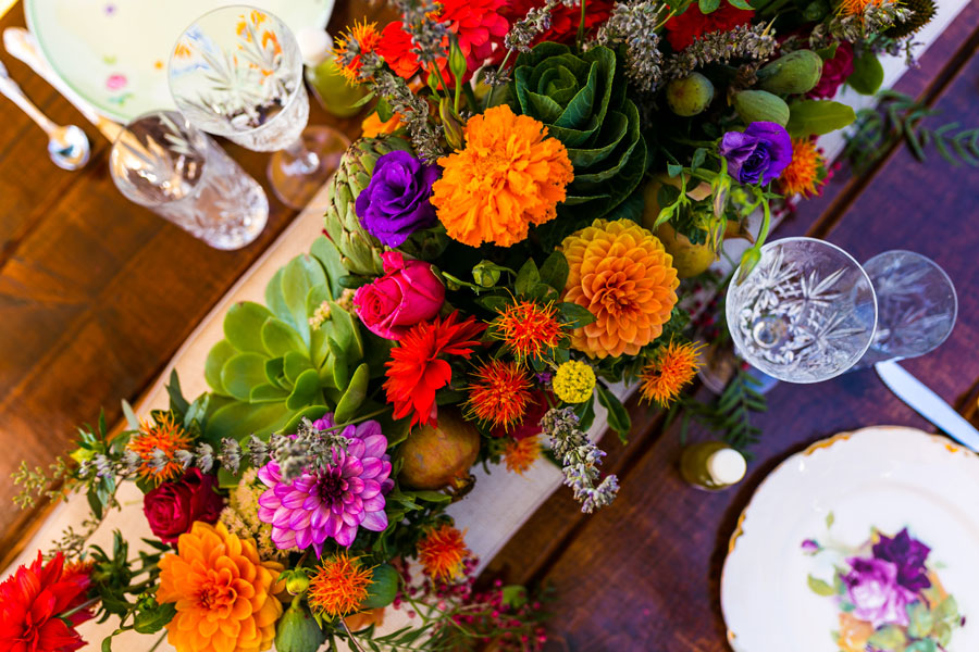 Centerpiece of Flowers, Veggies, and Succulents by Kate Healey