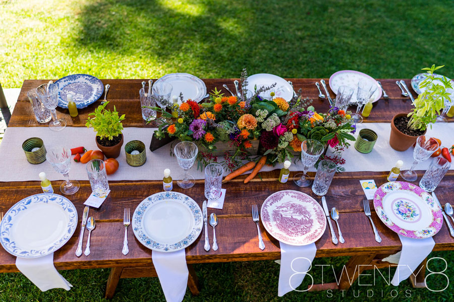 Wedding Banquet Table Adorn with Veggies and Flowers by Kate Healey