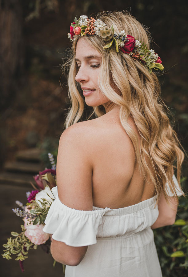 Bride with Flower Crown of Buds and Berries