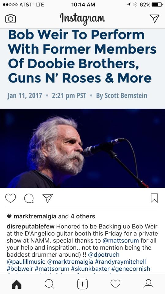 Excited to announce Disreputable Few as Bob Weir's backing band at the NAMM Show. This event,for Bob's new signature D'Angelico Guitar, will be a private after show hours affair. Unfortunately this is invite only. The party is at the D'Angelico Guitars booth.