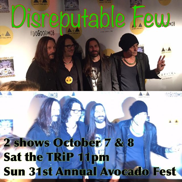 This weekend 2 shows! Santa Monica, Saturday 11pm at the TRiP in Santa Monica @tripsantamonica  Sunday the Annual Avocado Fest in Carpinteria at 3:30! Come on out and say hi!! #thetrip #avocadofestival #disreputablefew #mrzeus #wedgiepicks #gogotuners