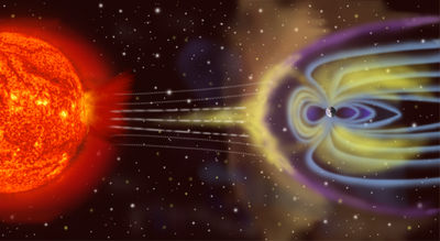 Depiction of solar particles interacting with Earth's magnetosphere