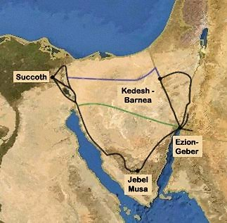 Some proposed routes of the Exodus