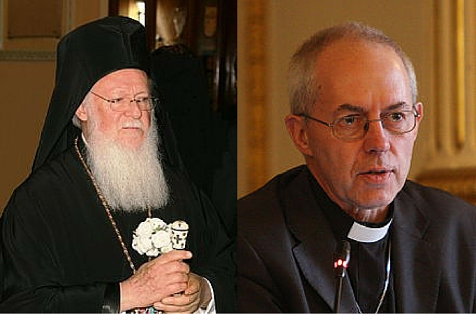 Eastern Orthodox Patriarch Bartholomew and Anglican Archbishop Justin Welby