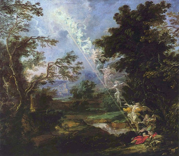 Artist's representation of Jacob's ladder dream (Genesis 28:10-17)