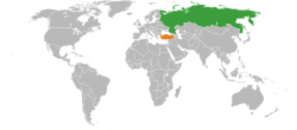 Russia shown in green with Turkey shown in orange