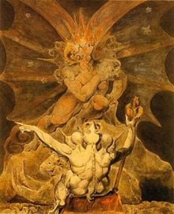 '   The number of the beast is 666′  by William Blake (18th/19th century)