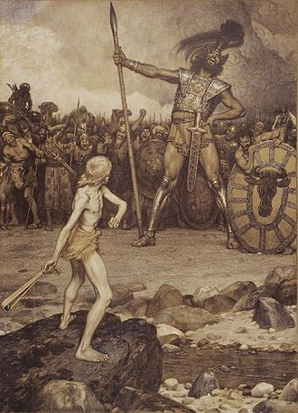 Artist's view of David facing the giant Goliath