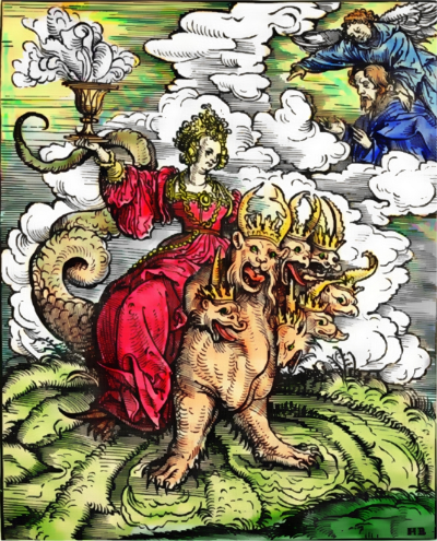 Artist's portrayal of Mystery Babylon the Great