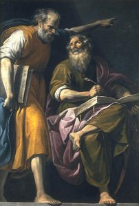 17th century artist Pasquale Ottino's portrayal of Peter dictating the gospel being penned by Mark