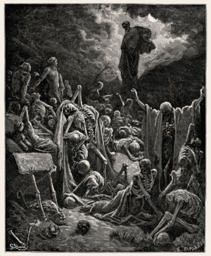 Valley of The Dry Bones of Ezekiel 37 rendering by Gustave Doré