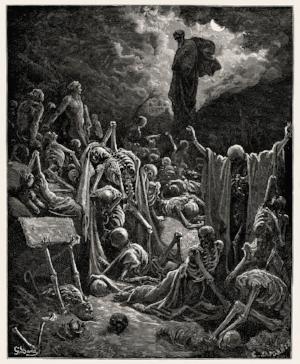 Valley of The Dry Bones of Ezekiel 37 rendering by Gustave Doré