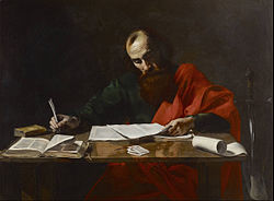 Artist depiction of the Apostle Paul writing his epistles