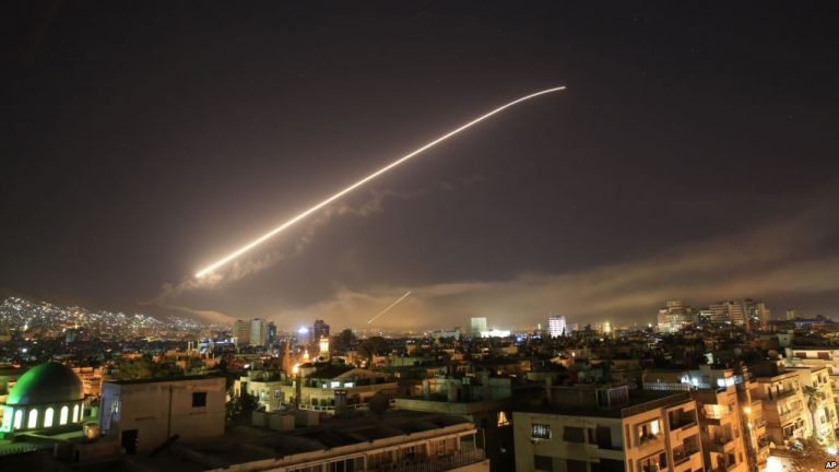 Missile heading into Syria (AP photo via VOA)