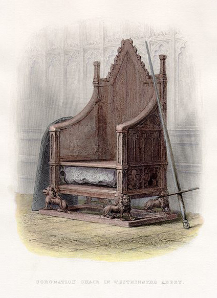 1855 Sketch of the coronation throne and Stone of Scone
