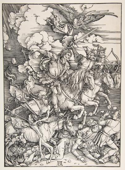 Albrecht Dürer's woodcut titled The Four Horsemen of the Apocalypse (1498)