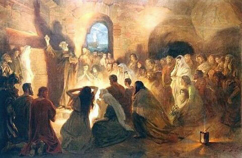 Artist portrayal of the Apostle Peter preaching