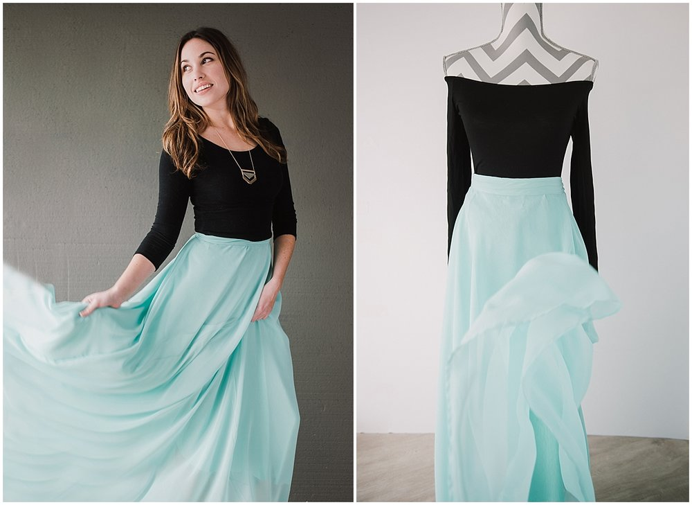 STYLE I - TEAL MAXI SKIRT WITH BLACK TOP
