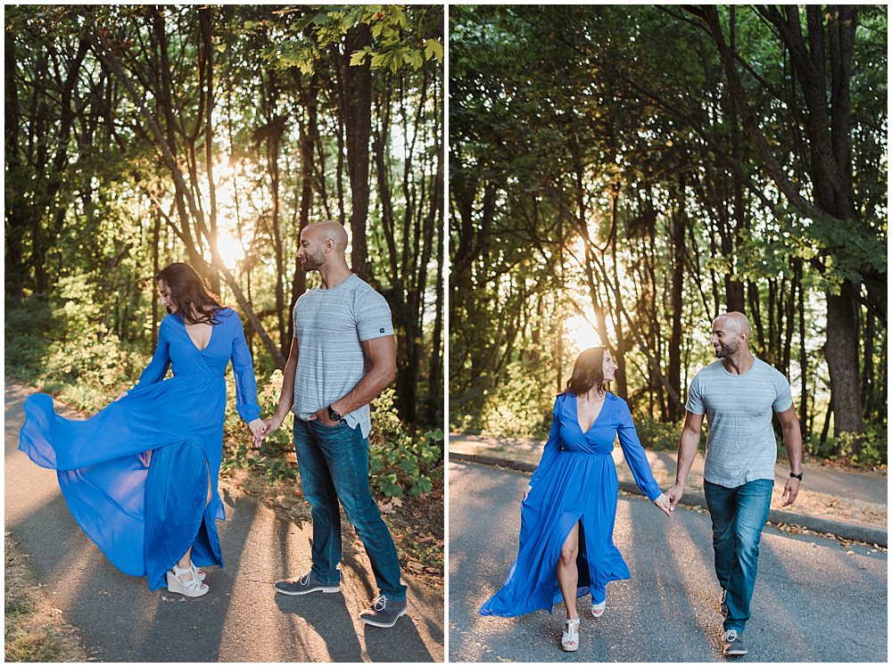 Romantic Discovery Park Seattle engagement photo in long blue lulus dress in the trees | Julianna J Photography | juliannajphotography.com
