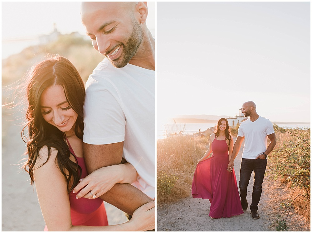 Romantic Discovery Park Seattle engagement photo by the lighthouse with lulus fusion dress | Julianna J Photography | juliannajphotography.com
