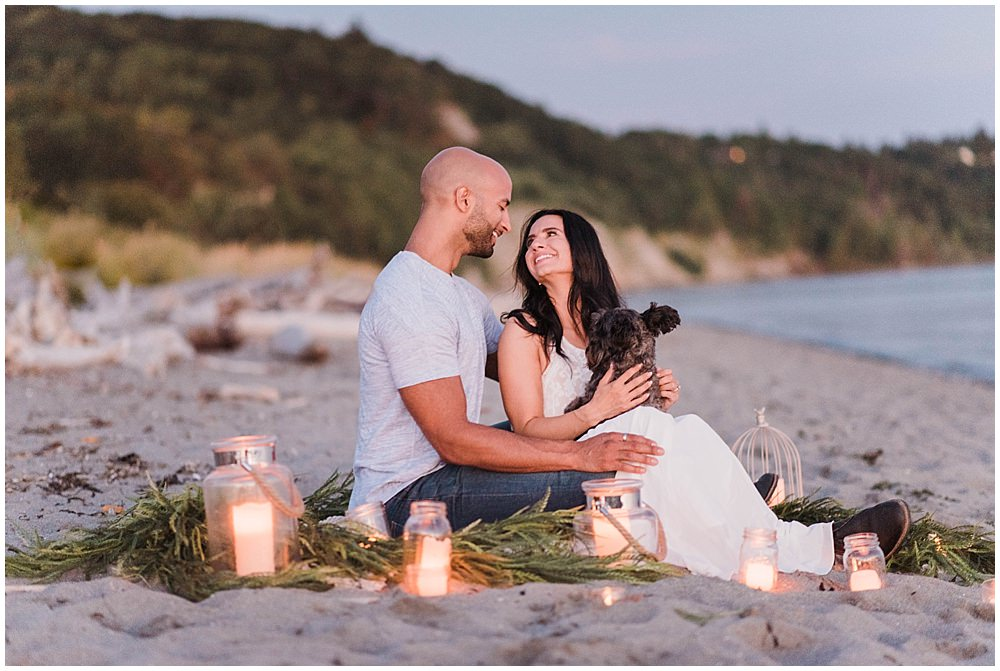 Romantic Discovery Park Seattle Candlelit Engagement Session   by the beach | Julianna J Photography | juliannajphotography.com