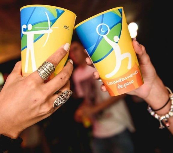 REUSABLE CUPS ARE BEING USED AROUND THE WORLD. -  The Rio Olympics introduced reusable cups to increase beer sales, create a unique souvenir and also eliminate waste from single use plastic cups.  During the international event, over 45 designs were created (each sport). Attendees would line up for beer just to get the cups, as the only way to get one was with a beer.The Olympic reusable cups created a cleaner and greener Olympics, increased the drink sales and created a great PR message.