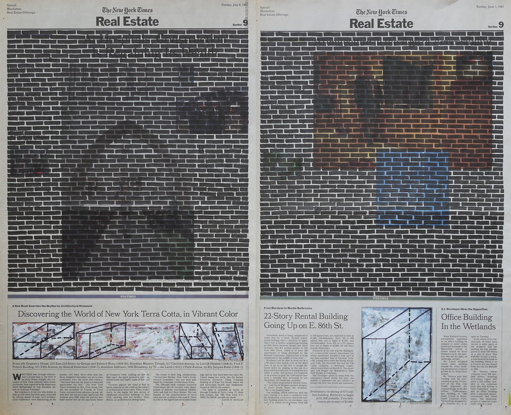Real Estate , 1999. Permanent markers and correction fluid on newspaper mounted on canvas.