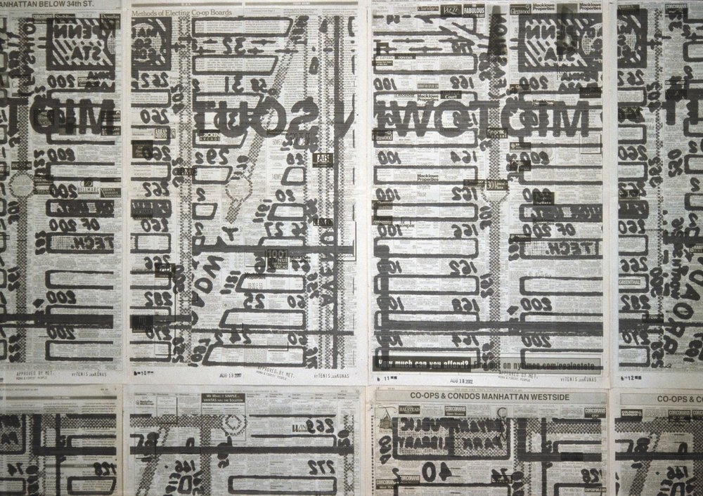 A Secret Map of the Real Estate , 2002, 24 Inkjet prints on newspaper pages wall mounted, 238x168 cm (detail view)