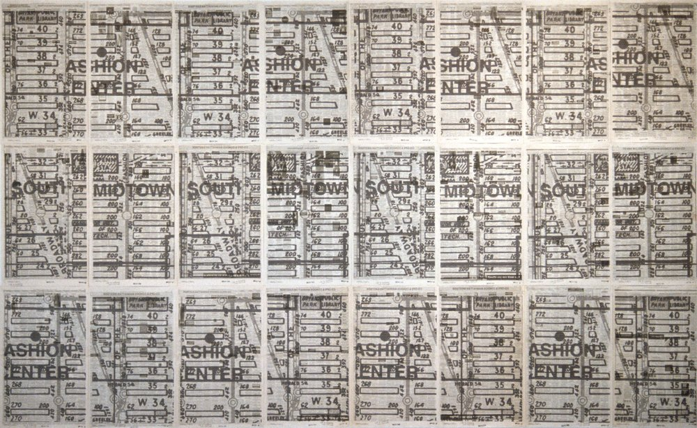 A Secret Map of the Real Estate , 2002, 24 Inkjet prints on newspaper pages wall mounted, 238x168 cm