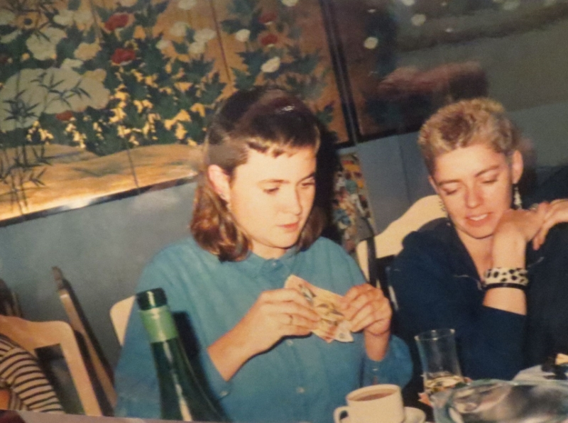PHOTO: AliSON TODD (LEFT) and LINDA PATTERSON (RIGHT) c. 1986 at a HOUSE PARTY