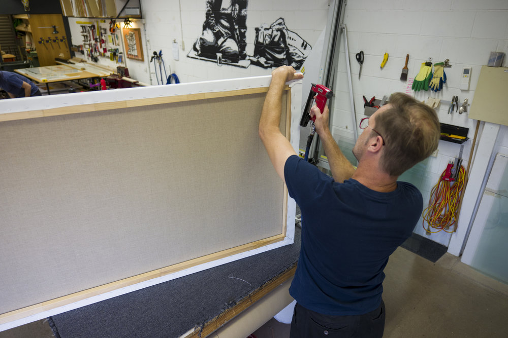 Canvas Stretching - We provide both top quality custom stretchers and collapsible museum stretchers for canvas works of any size.