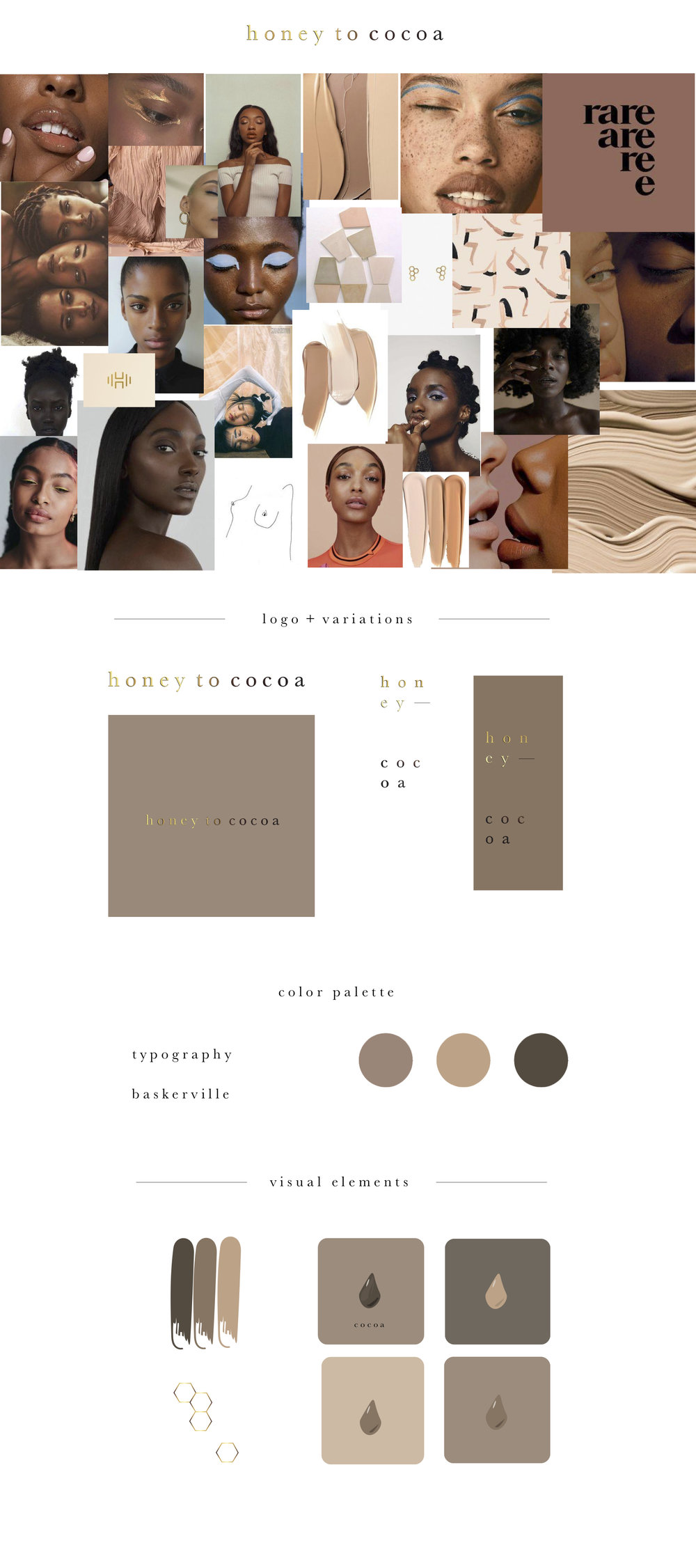 honey to cocoa - a digital platform for Women of Color in the beauty industry.branding + identity design.moodboard is curated with visuals from pinterest.