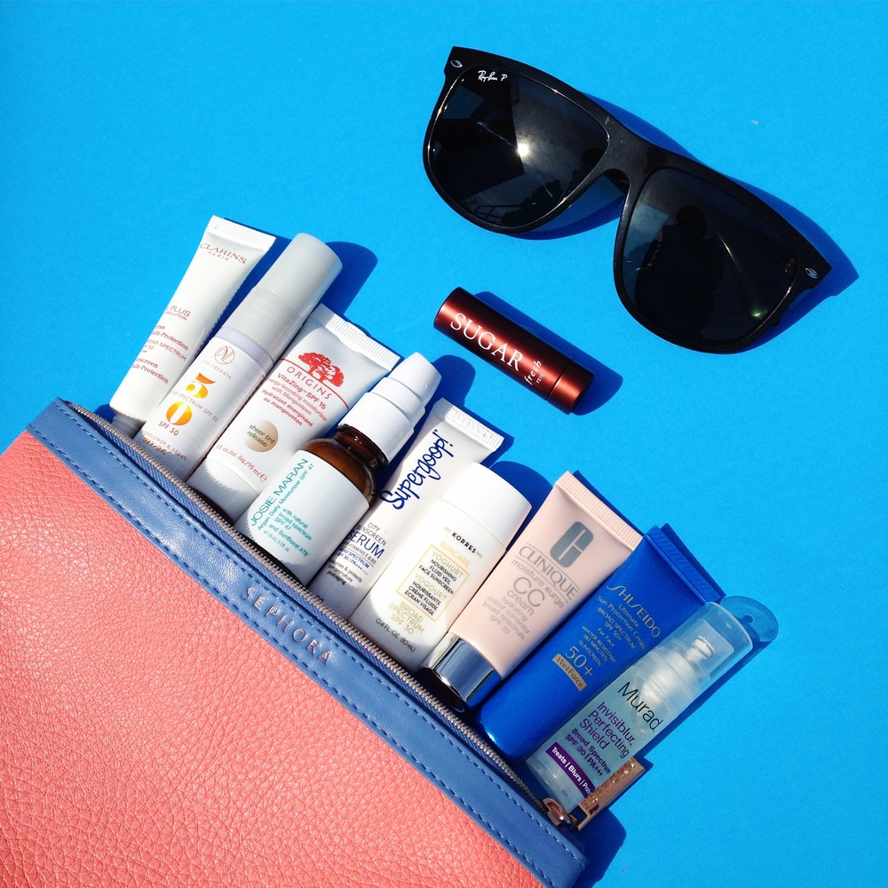 This is a sampling of the items included in the Sun Safety kit purchased from Sephora and Sephora inside JC Penney. The Sephora makeup bag was made from a previous purchase and not included in the Sun Safety Kit.