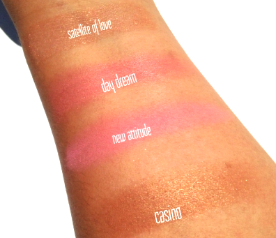 Swatches: Top- Bottom:Satellite of Love, Day Dream, New Attitude, and Casino.