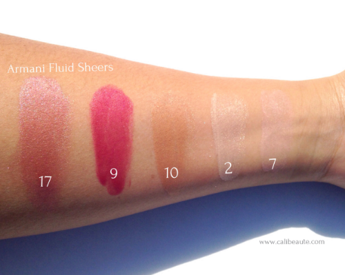 Pictured above are swatches of the Armani fluid sheers after blending.