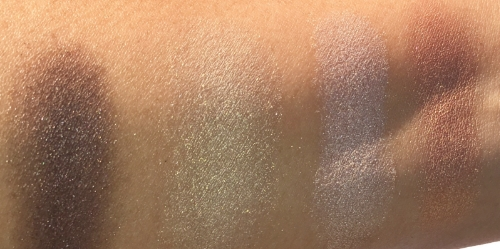 Eyeshadow Swatches: L-R: dark brown, pearl gold, silvery shimmer, and champagne gold