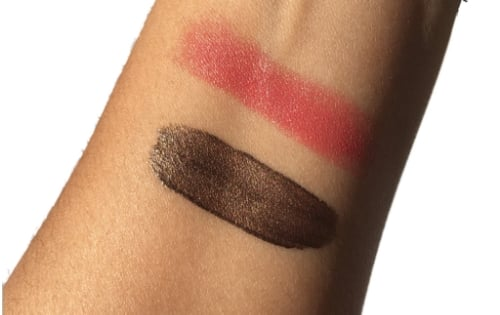 L-R: Exquisite Eyeshadow in Bronze and Up Close Lipstick in Rose