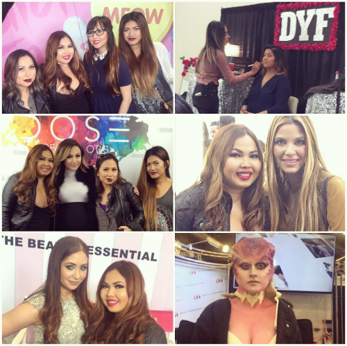 Top Left-IMATS with the Besties     Top Right-Tamanna from Dress Your Face Middle Left-with Dose of Colors founder, Anna  Middle Right-with Rachel (Beauty Professor) Bottom Right-with Cosmocube Founder, Mary  Bottom Right-Demonstration.