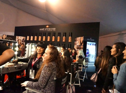 Lining up to get color matched with Makeup Forever's  Ultra HD Generation Foundation.