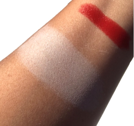 Both Swatched with a heavy hand. The powder is quite sheer when blended.